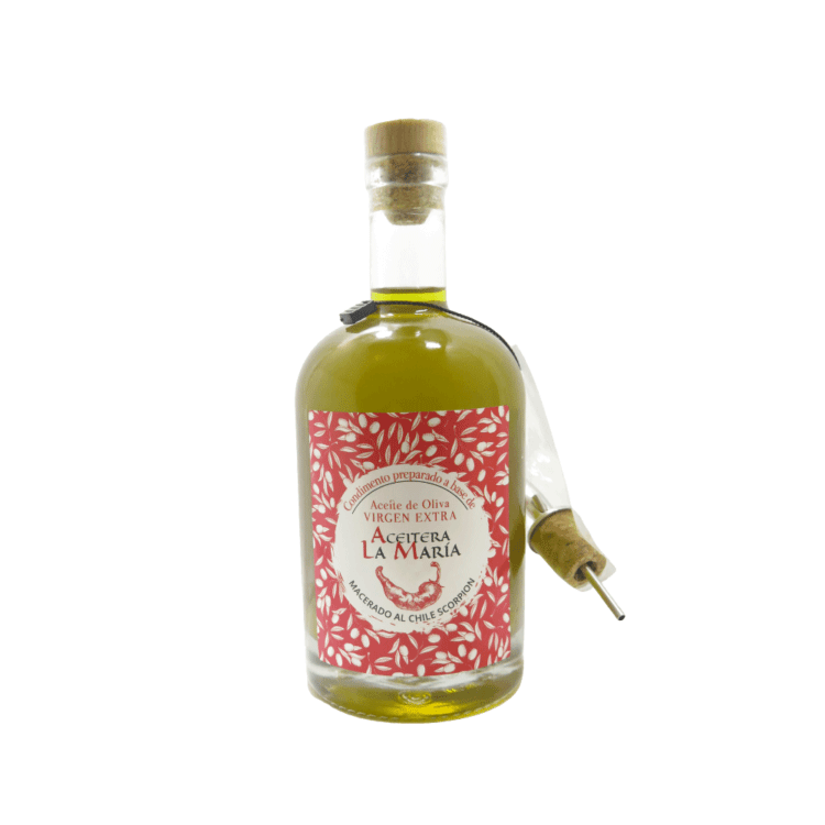 Extra Virgin Olive Oil to Chile Scorpion 50cl. with Metalic Pourer